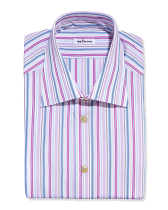 Multi-Stripe Dress Shirt, Pink/Blue