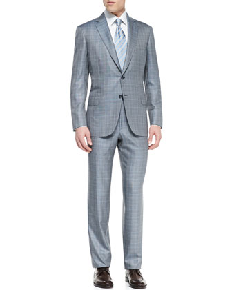 Plaid Two-Piece Suit, Gray/Blue