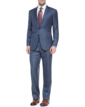 Plaid Two-Piece Suit, Blue/Gray