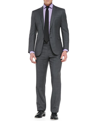 Anthony Glen Plaid Two-Piece Suit, Medium Gray