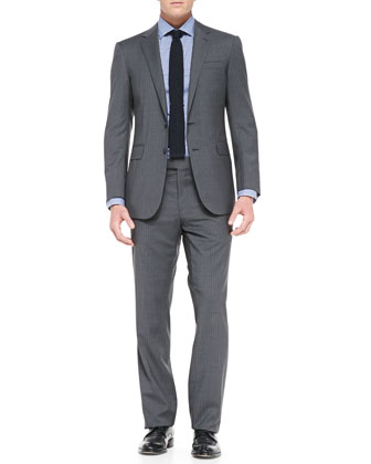 Anthony Pinstripe Two-Piece Suit, Medium Gray