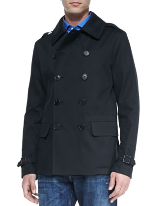 Double-Breasted Pea Coat, Black