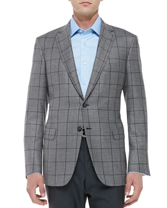 Windowpane Jacket, Gray/Charcoal