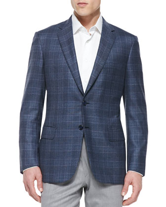Plaid Jacket with Contrast Deco, Blue/Red