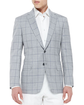 Windowpane Wool/Silk Jacket, Light Gray
