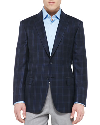 Plaid Cashmere/Silk Jacket , Navy
