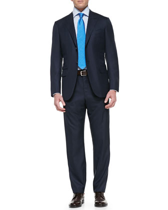 Tic Stripe Two-Piece Suit, Navy