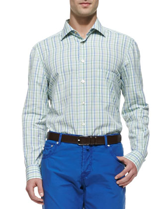 Check Button-Down Shirt, Green/Blue