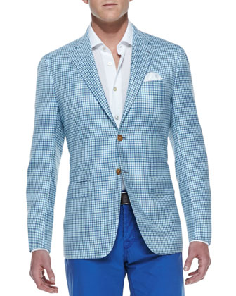 Check Two-Button Jacket, Aqua