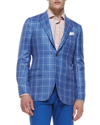 Plaid Two-Button Jacket, Woven Check Dress Shirt & Poplin Casual Trousers