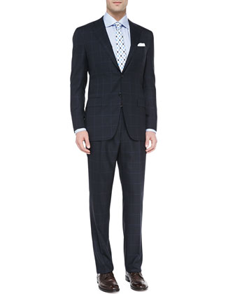 Windowpane Two-Piece Suit, Navy