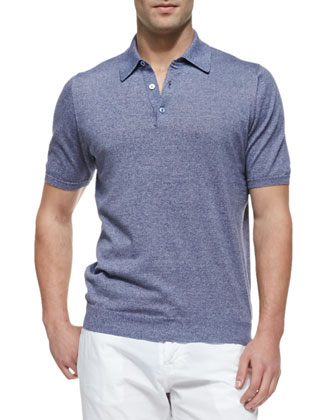 Marled Knit Polo, Blue