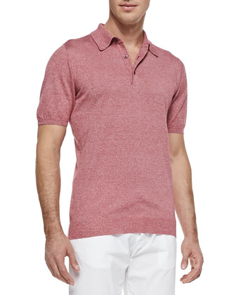 Marled Knit Polo, Red