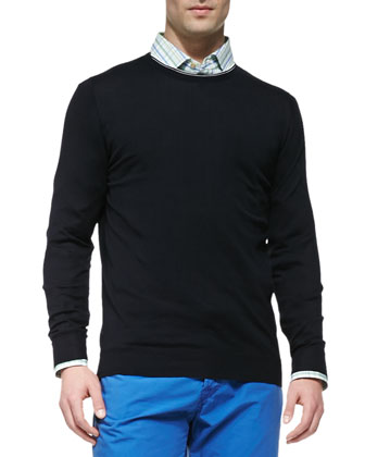 Tipped Crewneck Sweater, Navy