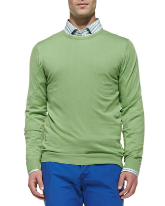 Tipped Crewneck Sweater, Lime