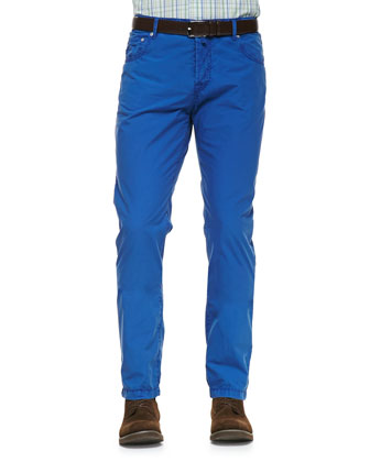 Poplin Casual Trousers, Blue