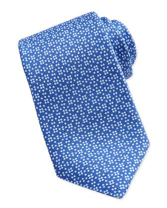Floral Neat Silk Tie, Blue