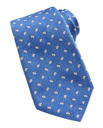 Paisley Neat Silk Tie, Blue
