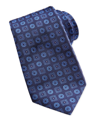 Snowflake-Medallion Silk Tie, Navy