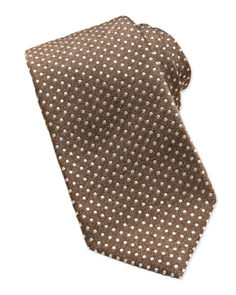 Polka-Dot Silk Tie, Brown