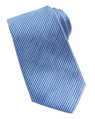 Narrow Rep Striped Silk Tie, Blue