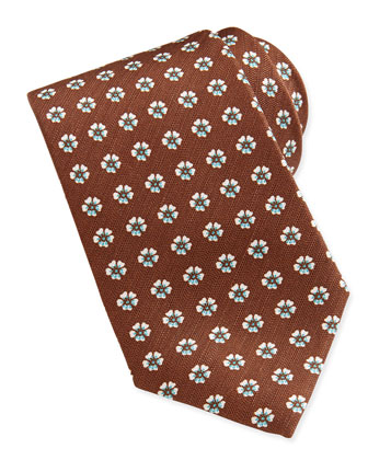 Floral-Neat 7-Fold Tie, Brown