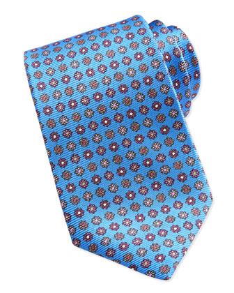 Medallion-Neat Twill Tie, Blue