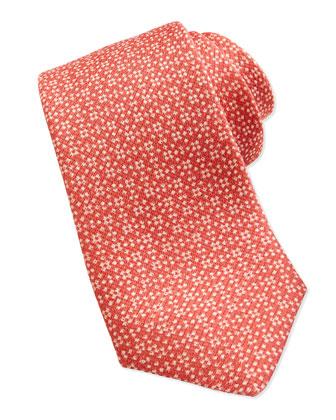 Floral Neat Silk Tie, Pink
