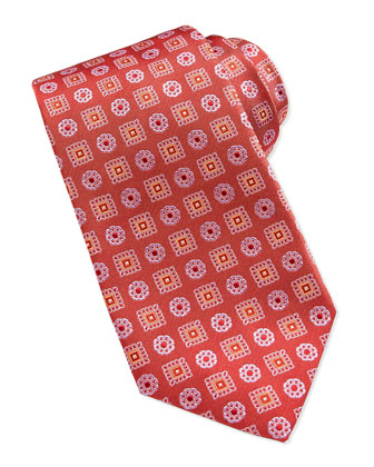 Snowflake-Medallion Silk Tie, Red