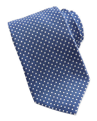 Woven-Polka-Dot Twill Tie, Blue