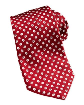 Floral Neat Silk Tie, Burgundy