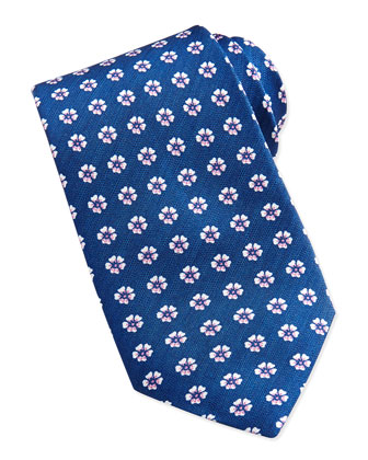 Floral-Neat Silk Tie, Turquoise
