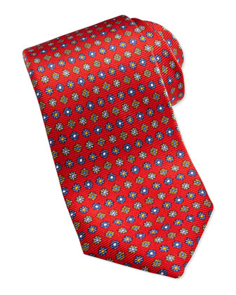 Medallion Silk Twill Tie, Red
