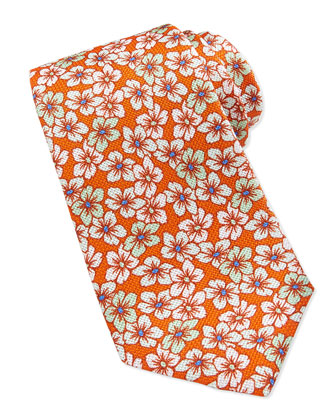 Multi-Floral-Print Tie, Orange