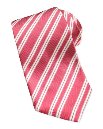 Rep Striped Silk Twill Tie, Red