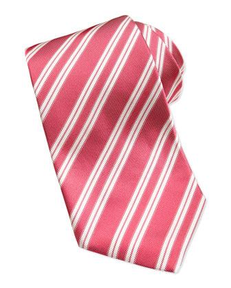 Rep Striped Silk Twill Tie, Red