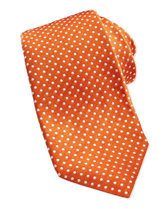 Polka-Dot Silk Twill Tie, Orange