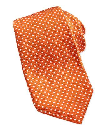 Polka-Dot Silk Twill Tie, Orange