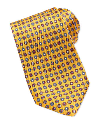 Medallion Neats Silk Twill Tie, Gold