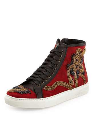 Lajos Men's Snake-Beaded High-Top Sneaker, Tomato