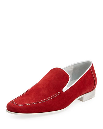 Nor Men's Suede Slip-On Loafer, Tomato