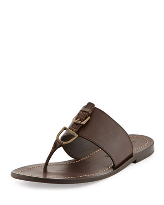 Men's Horsebit Leather Thong Sandal, Dark Brown