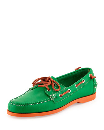 Neon Leather Boat Shoe, Green