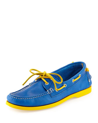 Neon Leather Boat Shoe, Royal