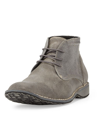 Waxed Suede Chukka Boot, Light Gray