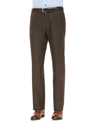 Cotton Twill Trousers, Brown