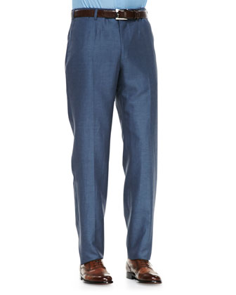Wool/Linen Trousers, Light Blue