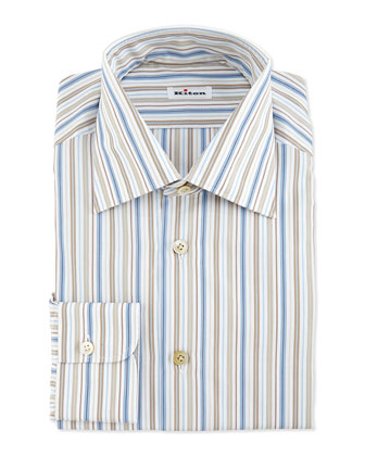 Multi-Stripe Dress Shirt, Blue/Brown