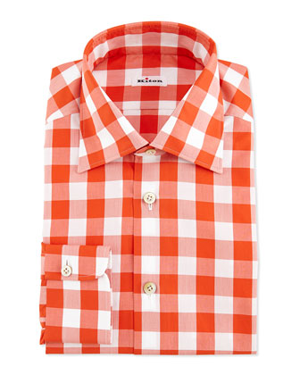 Large-Gingham-Check Dress Shirt, Orange