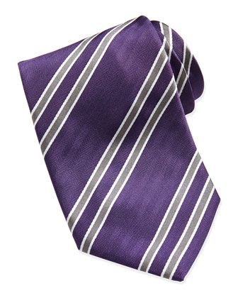 Herringbone Striped Silk Tie, Purple